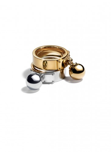 Tiffany City HardWear Bead Dangle Ring in 18K Yellow Gold and Sterling Silver